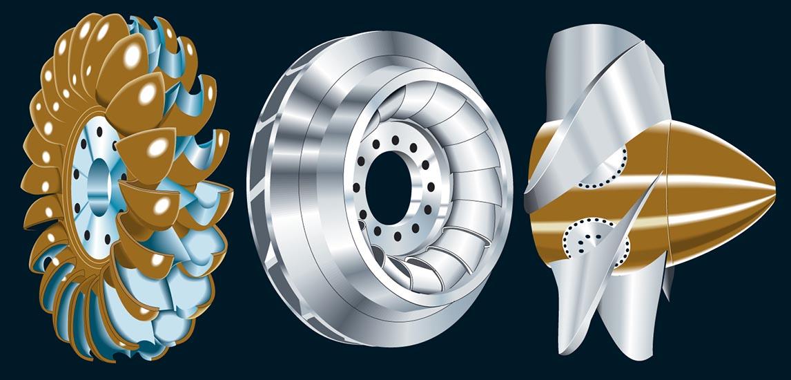 Dessin vectoriel des 3 types de turbines hydrauliques. Infographie Tristan Boy de la Tour, graphiste Lausanne.