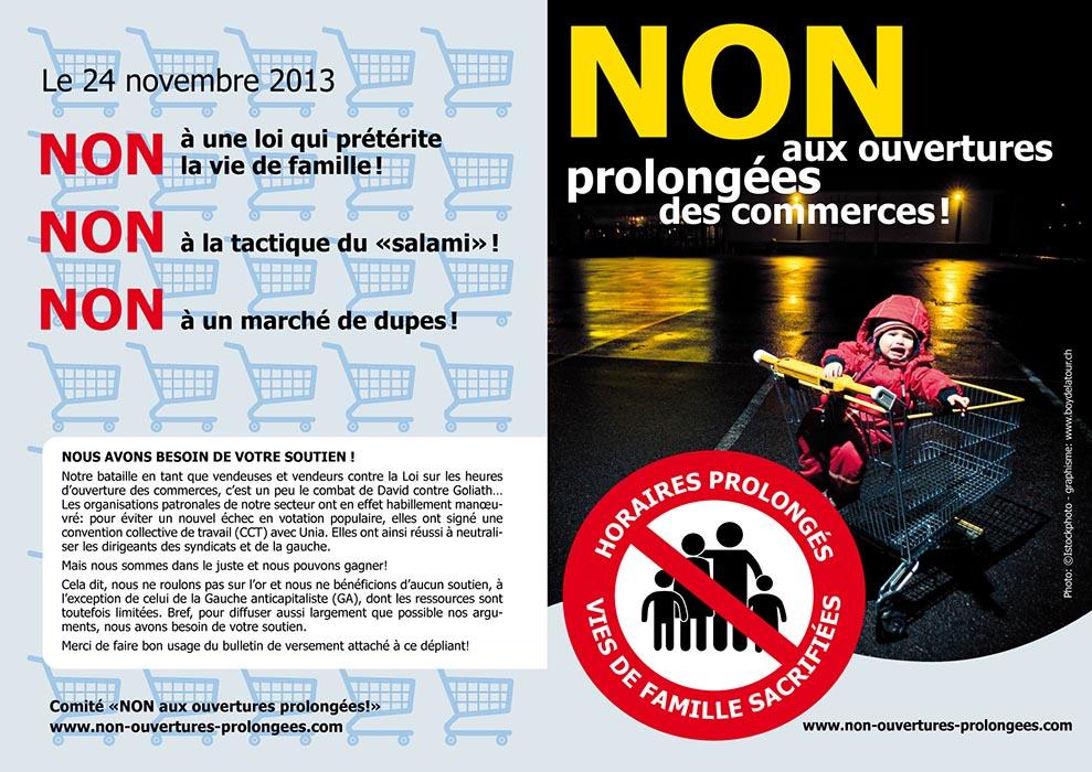 Dépliant de votation contre les ouvertures prolongées. Graphiste Tristan Boy de la Tour, Lausanne
