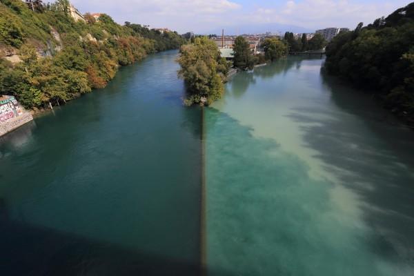 La jonction entre le Rhône et l'Arve