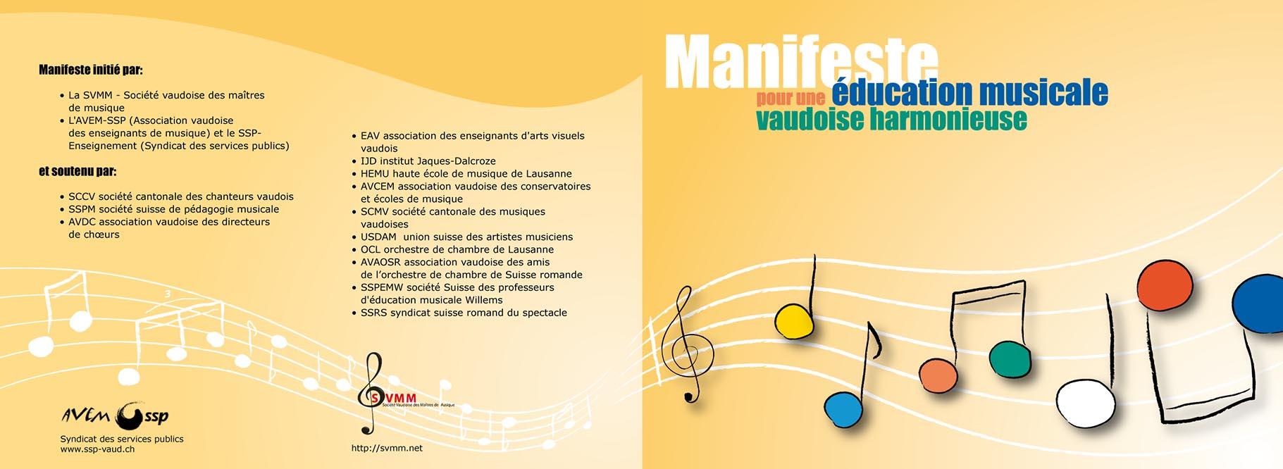 Dépliant «Manifeste pour une éducation musicale vaudoise». Tristan Boy de la Tour, graphiste Lausanne