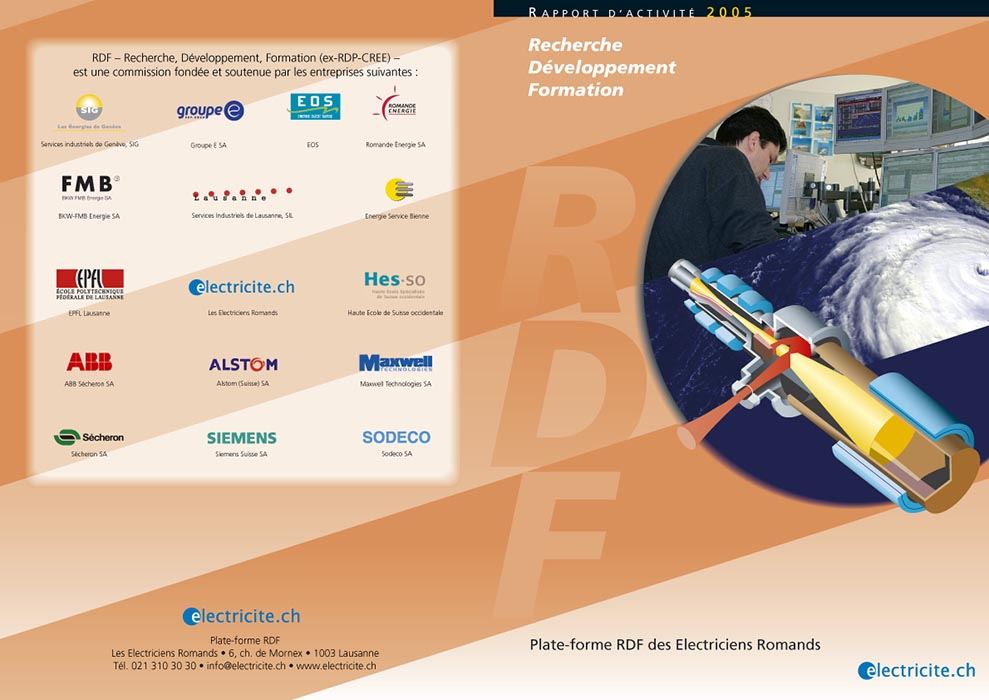 Rapport annuel recherche, développement et formation sur l'électricité. Tristan Boy de la Tour, graphiste Lausanne