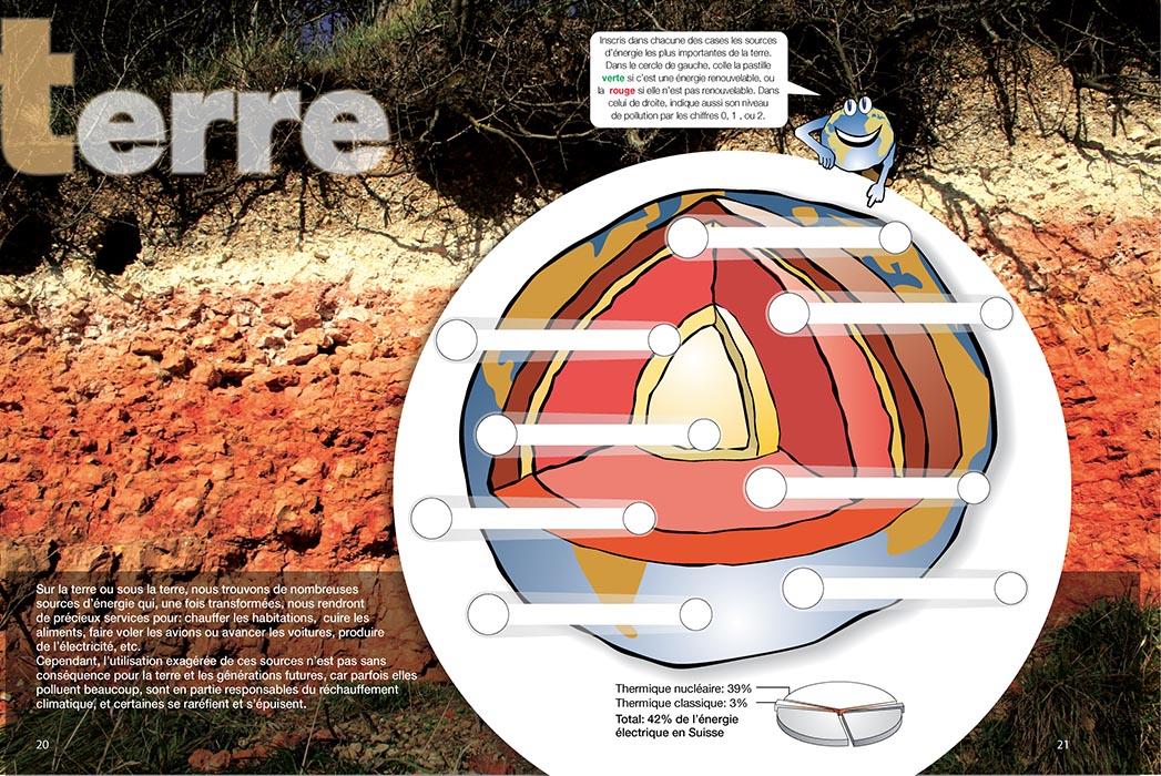 Brochure sur l'énergie destinée aux écoliers, pages sur la terre. Graphiste Tristan Boy de la Tour, Lausanne